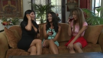 August Ames and Ayumi Anime get open for a lesbian shag