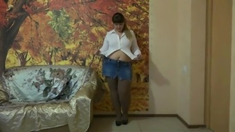 Attractive BBW Both legs And Pantyhose