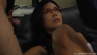 Katase Hitomi serves as a warm MILF with eye-glasses yearning an important hard on