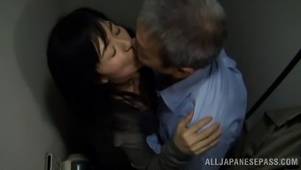 Age Japanese model getting fucked doggy form by the perverted old guy within the bathroom