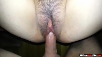 Hirsuite wife gets pussy fucked and creampied at the end