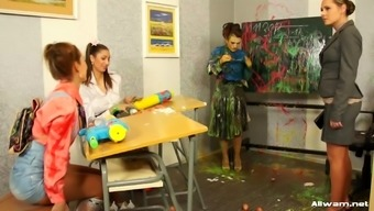Naughty instructor gets dirty together students employ shades of color throughout their own selves