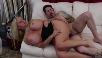Buxom female Karen Fisher getting thump in the pussy by Tommy 9mm