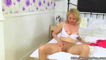 The english language milf Diana uses white knickers over tights