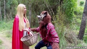 lexi lowe as a little red colored riding hood suddenly met large negative guzzle