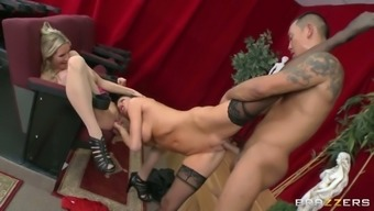 a couple of big tits opposite sex veronica avluv and emma starr getting fucked in threesome