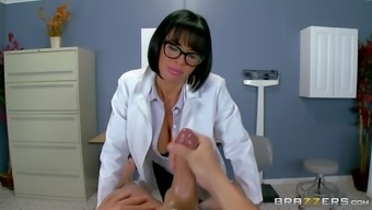physician. veronica avluv gives her patient the special treatment