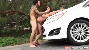 canadian hottie marley brinx gives top within a automobile and fucks on aside of it