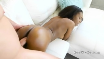 Ebony youngster with oiled stupid ass bangs great manhood