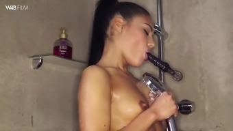 cute apolonia lapiedra things herself to really peak while you are having a shower