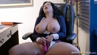 Stockings and eye-glasses on Sheridan Love is everything that her boss needs
