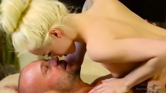 cruel bald fella goes off his tiny nuru masseuse elsa demin jean