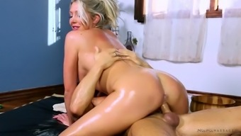 plus size english milf lexi lowe gets oiled and fucked through a masseur