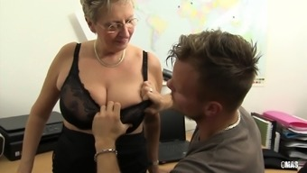 XXX OMAS - Dirty Germany granny can take lift in the office