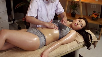 Warm Japanese people milf on the massage session desk for little finger fucking