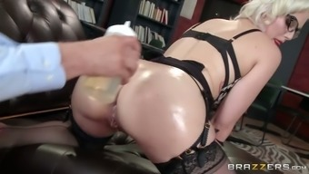 Perverted boss fingers anus of delightful blond study and after that lips fucks her how challenging