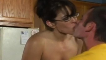 Devoted milf in eyeglasses offers a blowjob after that amusement rides a dong hard-core