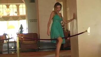 Carli within the inn lobby