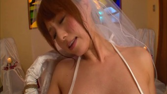Japanese future bride in panties dear along with huge dongs intense
