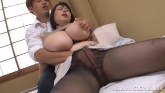 Full mature Oriental model gets cum on the major titties after getting fucked intense
