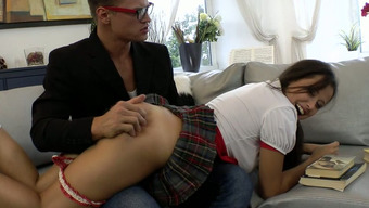 Bad community college date Elena Lombard is spanked before blowjob