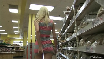 Cute youngster blonde detects a banana at the retail to fuck