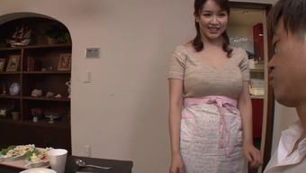 Busty Japanese people homemaker gives an erotic titjob and blowjob