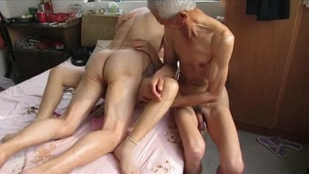 Far eastern Grandpa Trio by using grow older ladies
