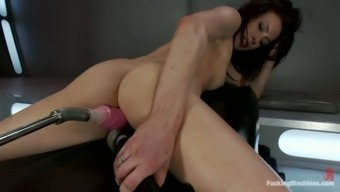 Aiden Ashley gets packed by experimental fucking devices