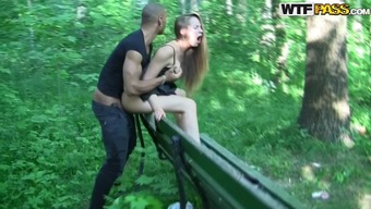 Lovely Black Gets Fucked By A Public Park Bench press