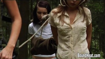 Two different Innocent Females Wedged By Lesbian Huntress And Tied Up