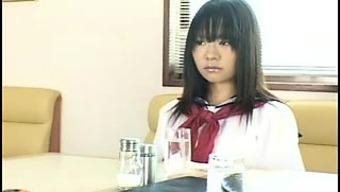 Cute Japanese people schoolgirl in white colored panties gets pleased