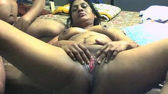 Beginner market by using Indian Plus-size woman lover getting flask among the pussy