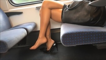 Sexy Legs at once Peak and Both feet in Nylons Pantyhose on Train