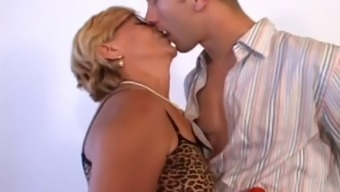 Fascinating Granny along with Eyeglasses Fucks Her Toy Boy