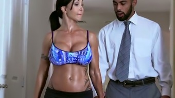 Raven haired strong MILF by using big silicone jugs gives a move to dark colored Boyfriend in take a bath