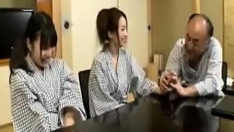 Two attractive Japanese people girls alternate touching and fucking