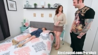 Hottest Threesome! Big tits MILF Sara Jay Fucks Her Airbnb Invitees!