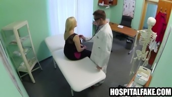 Sturdy blonde affected person gets naked for her physician