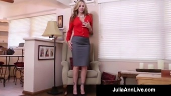 Busty Milf Julia Ann Cracks Her Sizzling Pussy by using a Cock Dildo!
