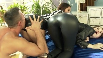 Fucking two different appealing babes Samia Duarte and her pal Misha Traverse