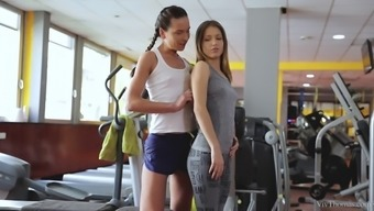 Wicked lesbian babes defeat another during a workout session
