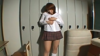 Buxom Japanese date stripping then playing with her pussy
