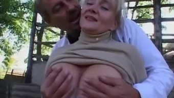 Granny gets fucked inside the outdoor setting