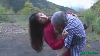Oriental Date Getting Her Pussy Licked And Fucked By Old Man Semen To Butt Outdoor adventure At