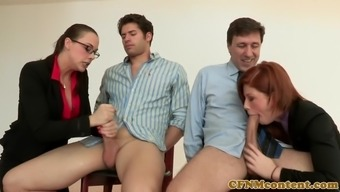 Dominating ginger pussylicking in cfnm sector