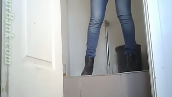White attractive young blonde gf in the toiletroom pissing on secret cam
