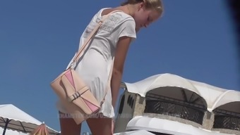 Slim teen ukrainian angel. Beach spy camera HD