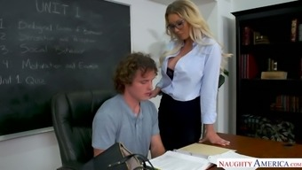 Incredibly curvy sexy blonde prof Kenzie Taylor rides dick in college room