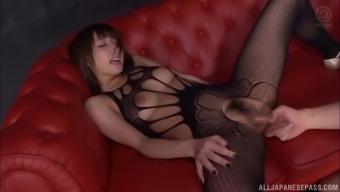 Ayami Shunka fucked in pantyhose and takes a cum shot